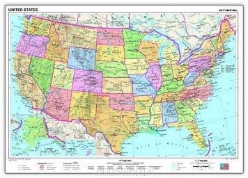 Usa Polityczna I Fizyczna Mapa Dwustronna