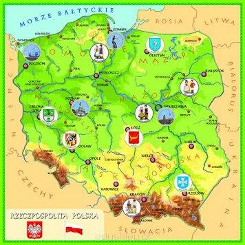 Magnetyczna Mapa Polski Dla Dzieci 80cm X 80cm