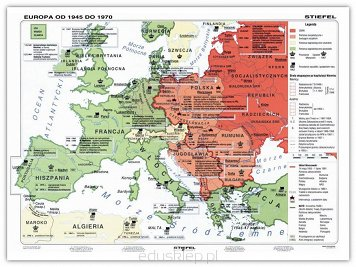Europa W Latach 1945 1999 Mapa Dwustronna
